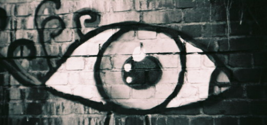 Eye painted on a brick wall